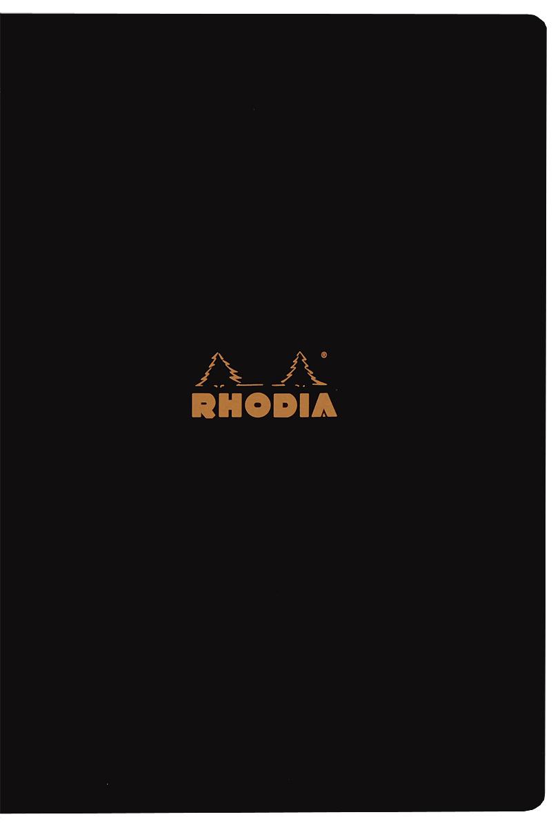 """Тетрадь Clairefontaine """"Rhodia"""", в линейку, формат A4, цвет обложки: черный, 48 листов"""