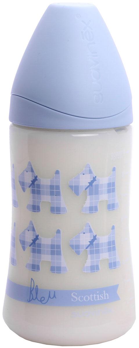 Suavinex Бутылочка Scottish от 6 месяцев с силиконовой соской цвет голубой 270 мл suavinex бутылочка от 0 месяцев с силиконовой соской цвет розовый 270 мл 3800055