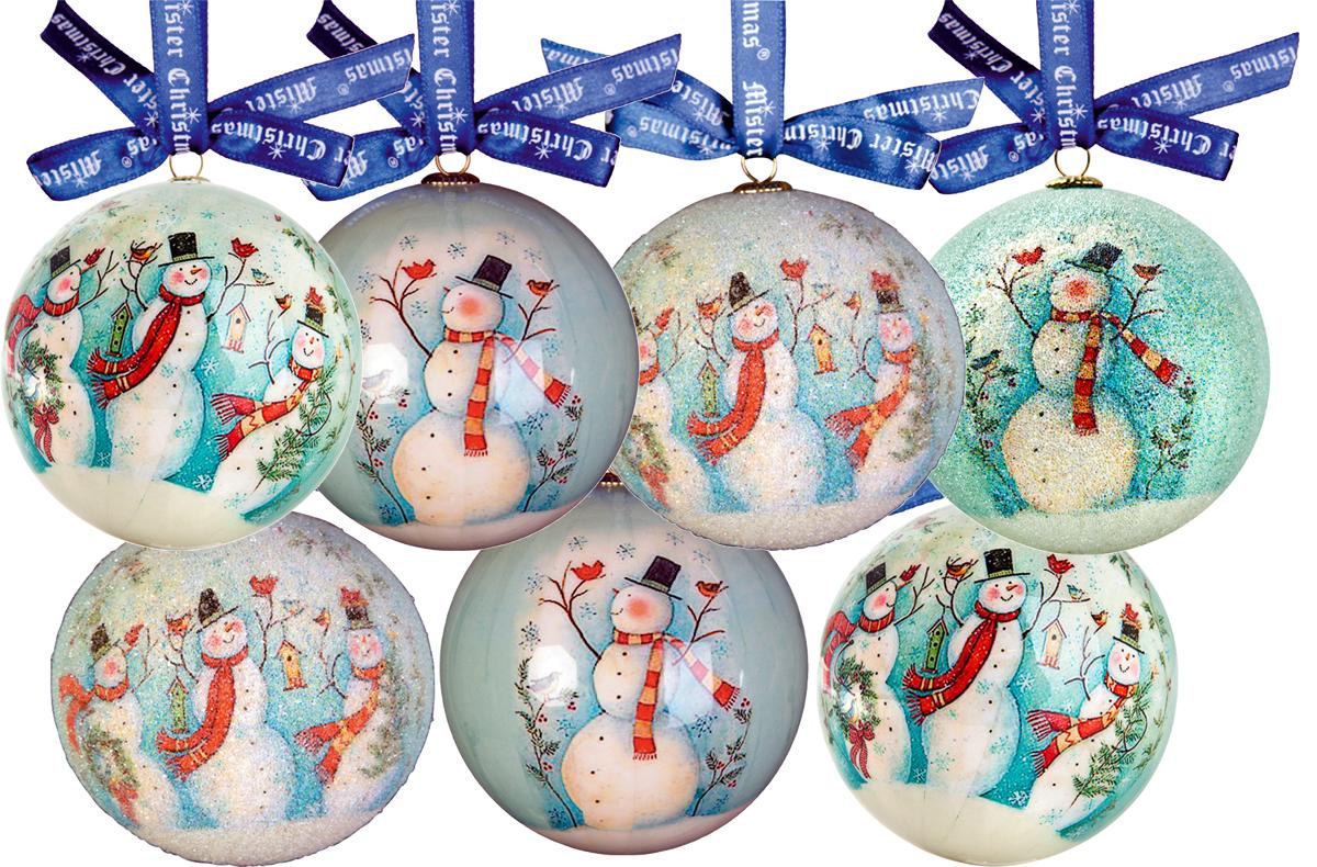 Набор новогодних подвесных украшений Mister Christmas Папье-маше, диаметр 7,5 см, 7 шт. PM-1-7PM-1-7Набор из 7 подвесных украшений Mister Christmas Папье-маше прекрасно подойдет для праздничного декора новогодней ели. Изделия, выполненные из бумаги и покрытые несколькими слоями лака, очень прочные и легкие. Такие шары создадут единый стиль в оформлении не только ели, но и интерьера вашего дома. В наборе игрушки имеют глянцевую поверхность и покрытые мелкой пластиковой крошкой. Все изделия оснащены атласной ленточкой с логотипом бренда Mister Christmas для подвешивания. Такие украшения станут превосходным подарком к Новому году, а также дополнят коллекцию оригинальных новогодних елочных игрушек.