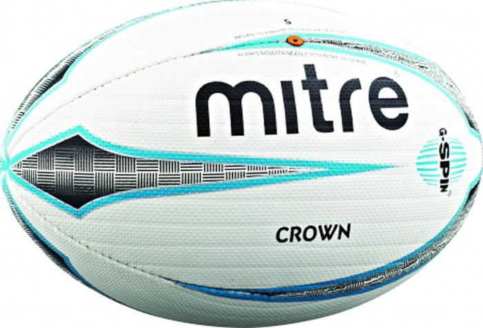 Мяч для регби Mitre Mitre Crown. Размер 5BB2102WHCМатчевый мяч для регби с новым покрытием поверхности для лучшего удержания мяча и паса Технология G-Spin с канавками вдоль мяча для улучшения стабильности полета и контроля мяча Высококачественный резиновый компаунд с превосходными качествами захвата улучшает долговечность мяча Клапан в шве для стабильности в полете Превосходный клубный матчевый мяч для игроков среднего уровня и юниоров