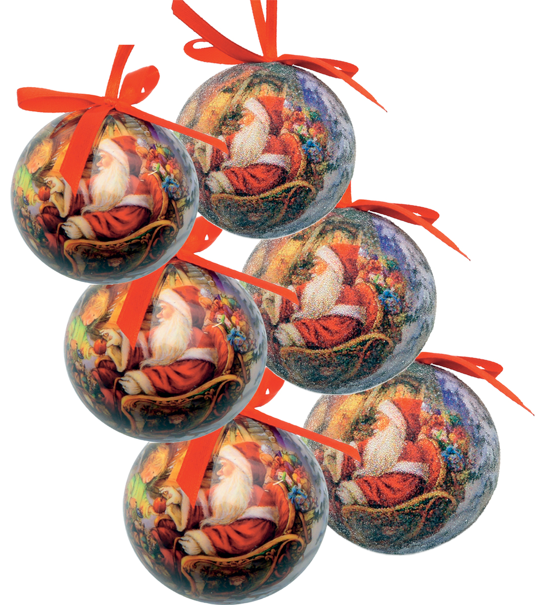 Набор новогодних подвесных украшений Mister Christmas  Папье-маше , диаметр 7,5 см, 6 шт. PM-21-6 -  Украшения