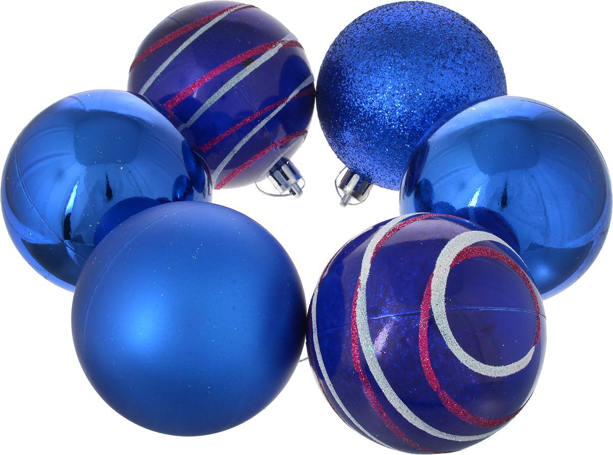 Набор новогодних подвесных украшений Sima-land Орион, цвет: синий, диаметр 8 см, 6 шт2178302