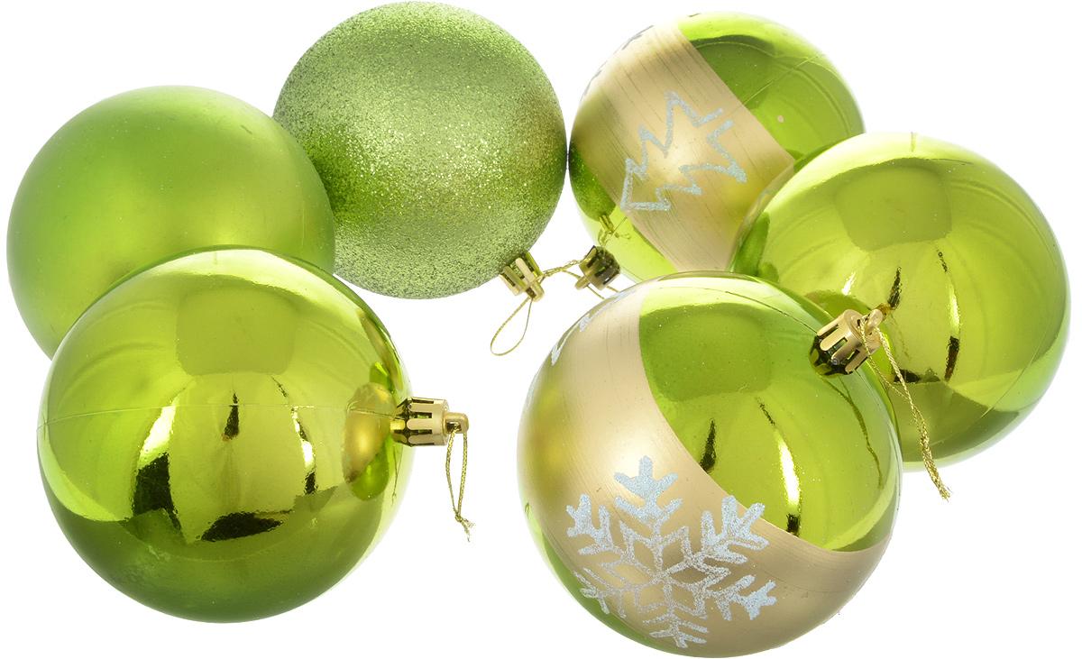 Набор новогодних подвесных украшений Sima-land Снежинка, цвет: зеленый, диаметр 10 см, 6 шт2178440