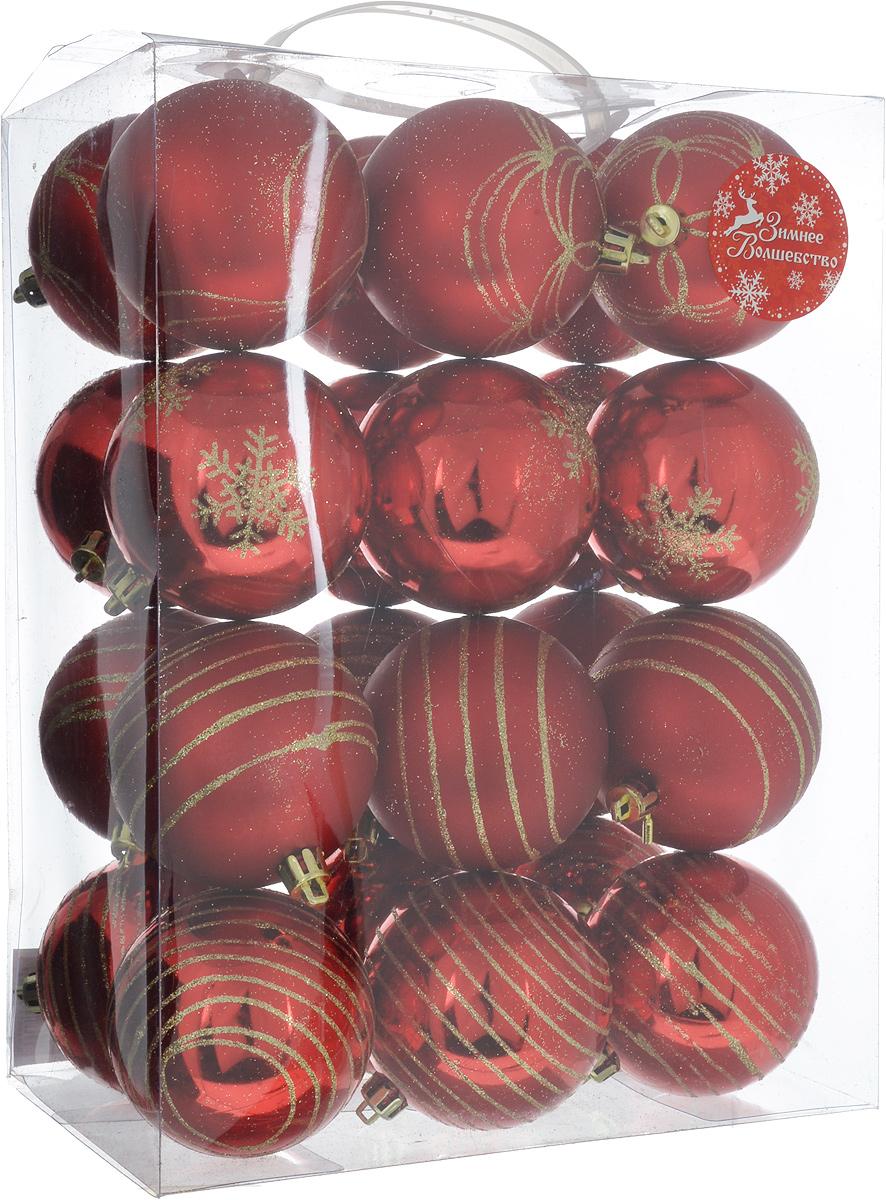 Набор новогодних подвесных украшений Sima-land Полосы, снежинка, волна, цвет: красный, диаметр 6,5 см, 24 шт1346715