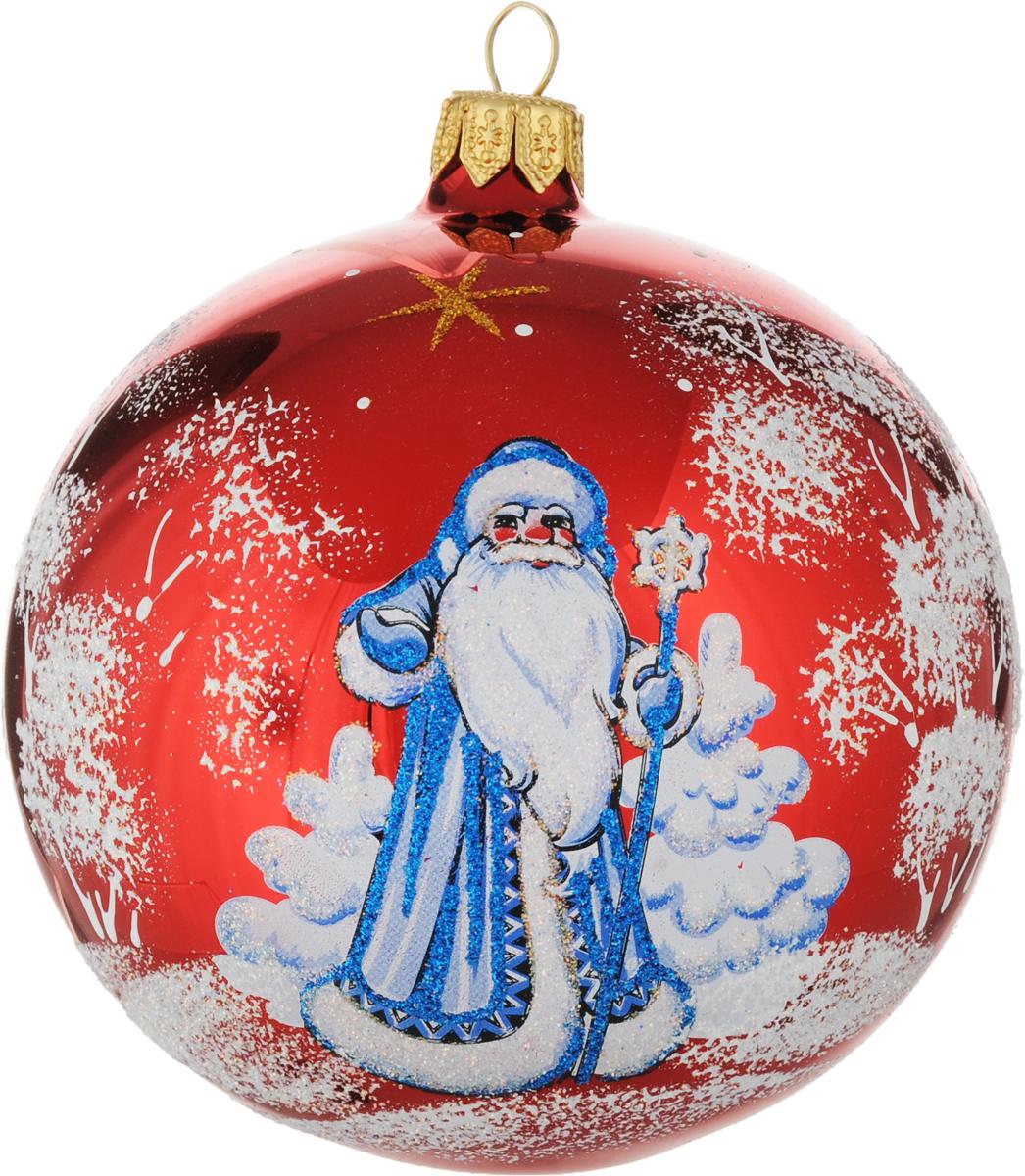Новогоднее подвесное украшение Ёлочка Дед Мороз, цвет: красный, диаметр 9,5 см украшение подвесное weiste дед мороз цвет красный 3 шт