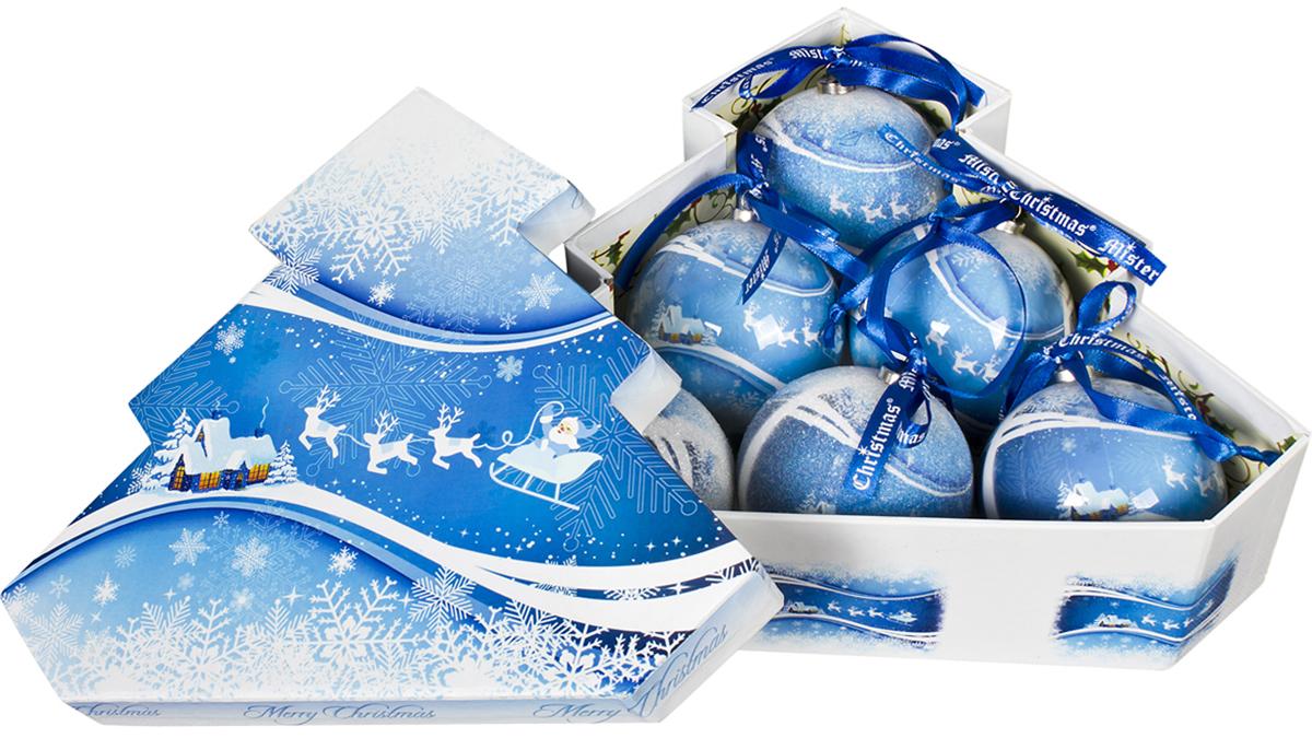 Набор новогодних подвесных украшений Mister Christmas  Папье-маше , диаметр 7,5 см, 6 шт. PM-40-6T -  Украшения