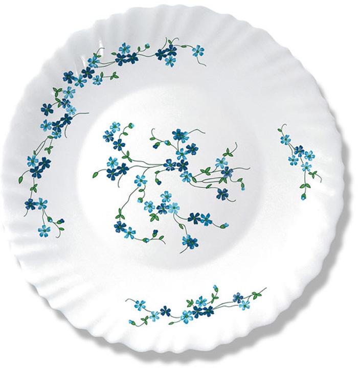 """Тарелка десертная Arcopal """"Veronica"""" выполнена из ударопрочного стекла. Изящный рисунок из голубых незабудок напоминает летний ручей на лугу.  Можно использовать в СВЧ и мыть в посудомоечной машине."""