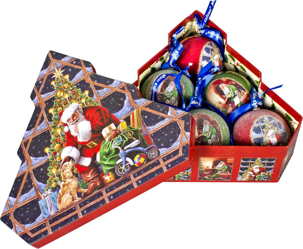Набор новогодних подвесных украшений Mister Christmas Папье-маше, диаметр 7,5 см, 6 шт. PM-47-6T елочный шар mister christmas набор елочных шаров из 6 штук 7 5 см папье маше рм 21 6