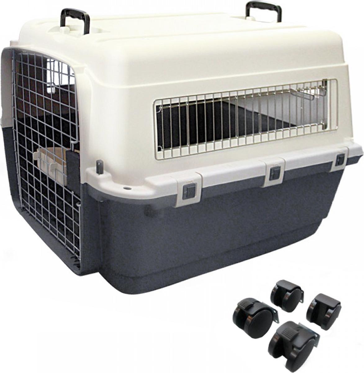Переноска для собак Triol Premium Extra Large, цвет: серый, 90 x 60 x 68 см цепь поводок для собак triol с кожаной ручкой 3х110х10см