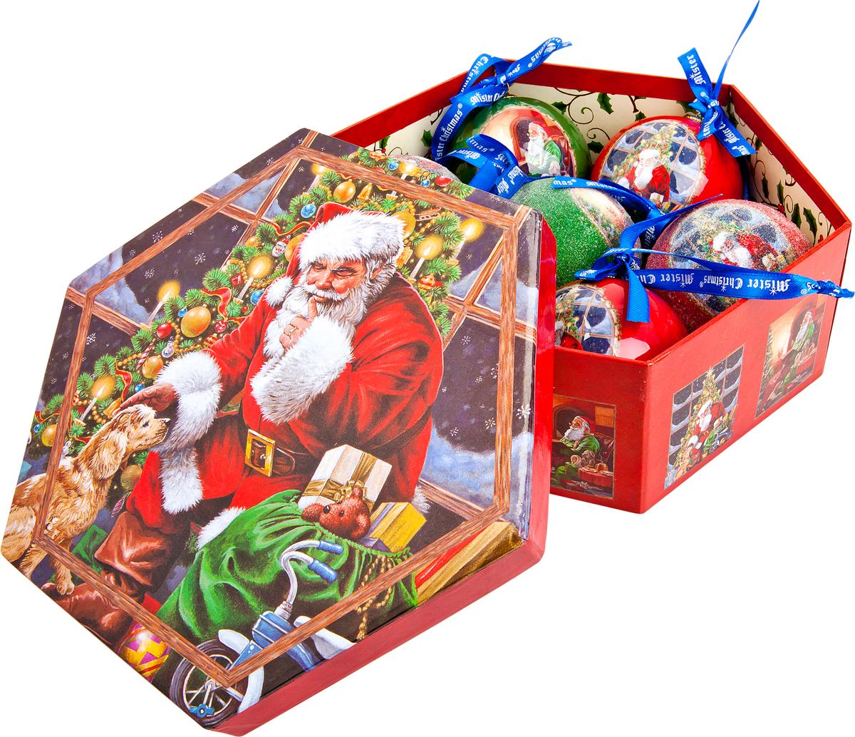 Набор новогодних подвесных украшений Mister Christmas  Папье-маше , диаметр 7,5 см, 7 шт. PM-47-7 -  Украшения