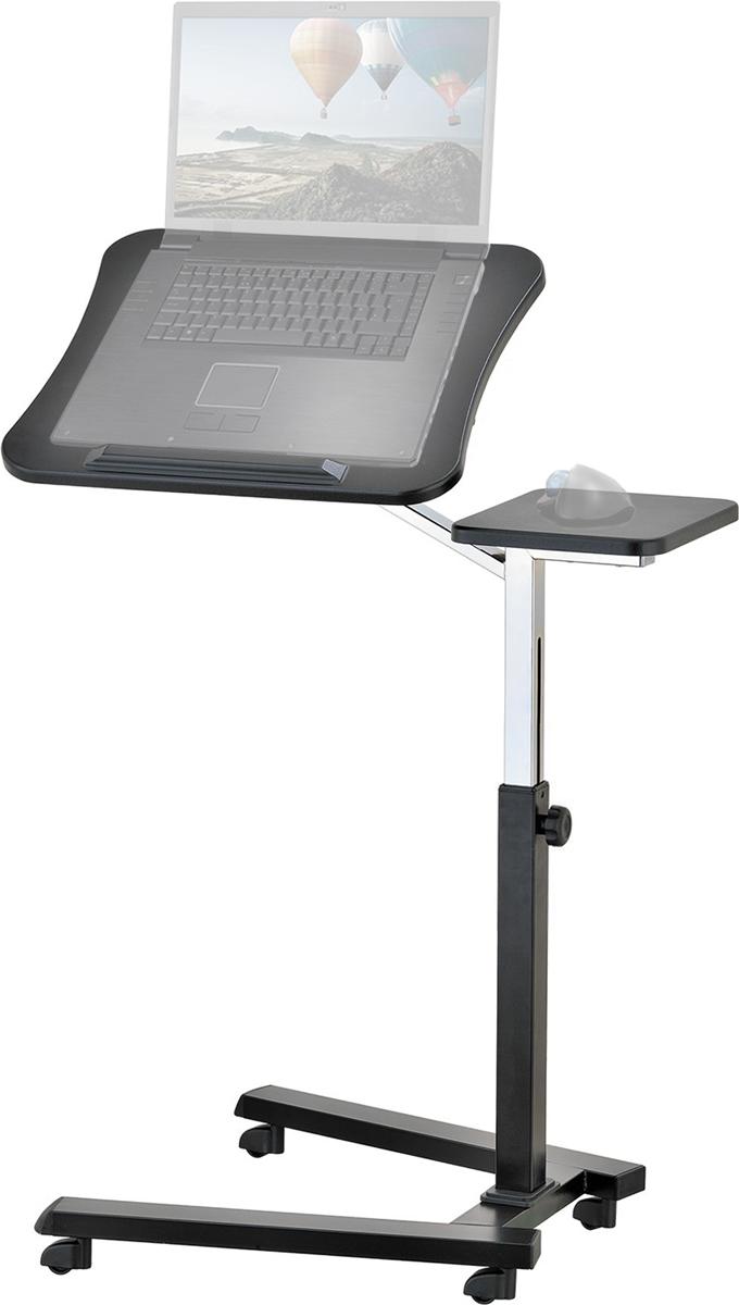 """Стол для ноутбука Tatkraft """"JOY"""" - идеальное решение для современного мобильного или домашнего офиса.   • Отрегулируйте письменный стол для ваших надобностей, выбрав удобную позицию и угол, подходящий под размеры для портативного  компьютера от 7-17 дюймов.  • Элегантный и модный дизайн. Возможны варианты наклона стола для комфортного печатания и письма.  • Подставка для ноутбука имеет угол наклона 30° и вращается на 360 °.  • Регулируется в высоту (с 70 до 99.5 см) и угол наклона (0-30°) для вашего удобства.  • Наклоняющаяся столешница 40 х 45 см.  • Легко двигается на 4-х колёсах (с блокируемым устройством).  • Используйте дома ноутбук и планшет с полным комфортом на диване, кресле и даже в кровати, в офисе или в игровом кресле."""