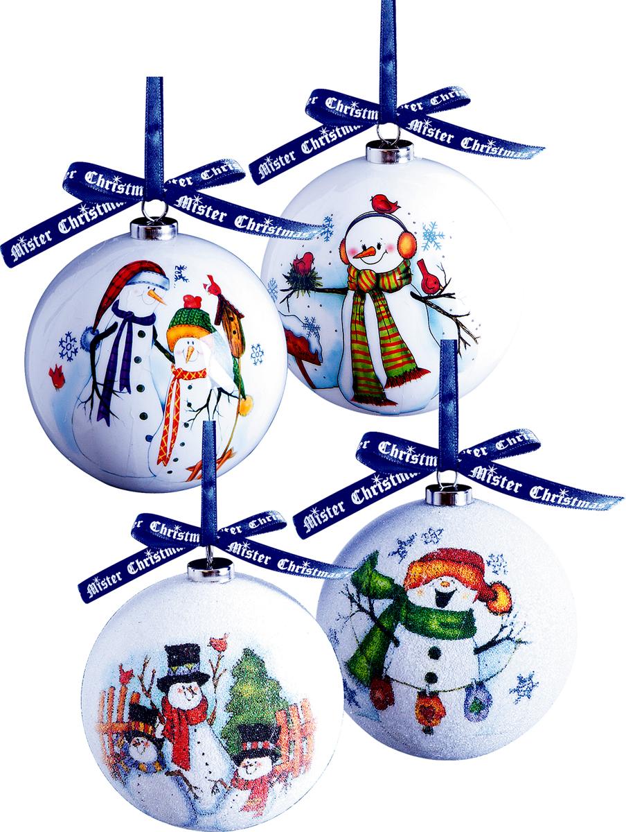 Набор новогодних подвесных украшений Mister Christmas Папье-маше, диаметр 7,5 см, 4 шт. PM-25-4PM-25-4Набор из 4 подвесных украшений Mister Christmas Папье-маше прекрасно подойдет для праздничного декора новогодней ели. Изделия, выполненные из бумаги и покрытые несколькими слоями лака, очень прочные и легкие. Такие шары создадут единый стиль в оформлении не только ели, но и интерьера вашего дома. В наборе игрушки имеют глянцевую поверхность и покрытые мелкой пластиковой крошкой. Все изделия оснащены атласной ленточкой с логотипом бренда Mister Christmas для подвешивания. Такие украшения станут превосходным подарком к Новому году, а также дополнят коллекцию оригинальных новогодних елочных игрушек.
