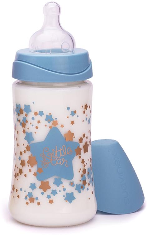 Suavinex Бутылочка Haute Couture от 0 месяцев с силиконовой соской цвет голубой 270 мл бутылочки для кормления suavinex бутылка suavinex 150мл haute couture от 0мес с анатомич силиконовой соской