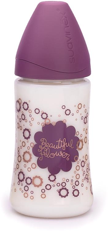 Suavinex Бутылочка Haute Couture от 0 месяцев с силиконовой соской цвет фиолетовый 270 мл suavinex бутылочка от 0 месяцев с силиконовой соской цвет розовый 270 мл 3800055