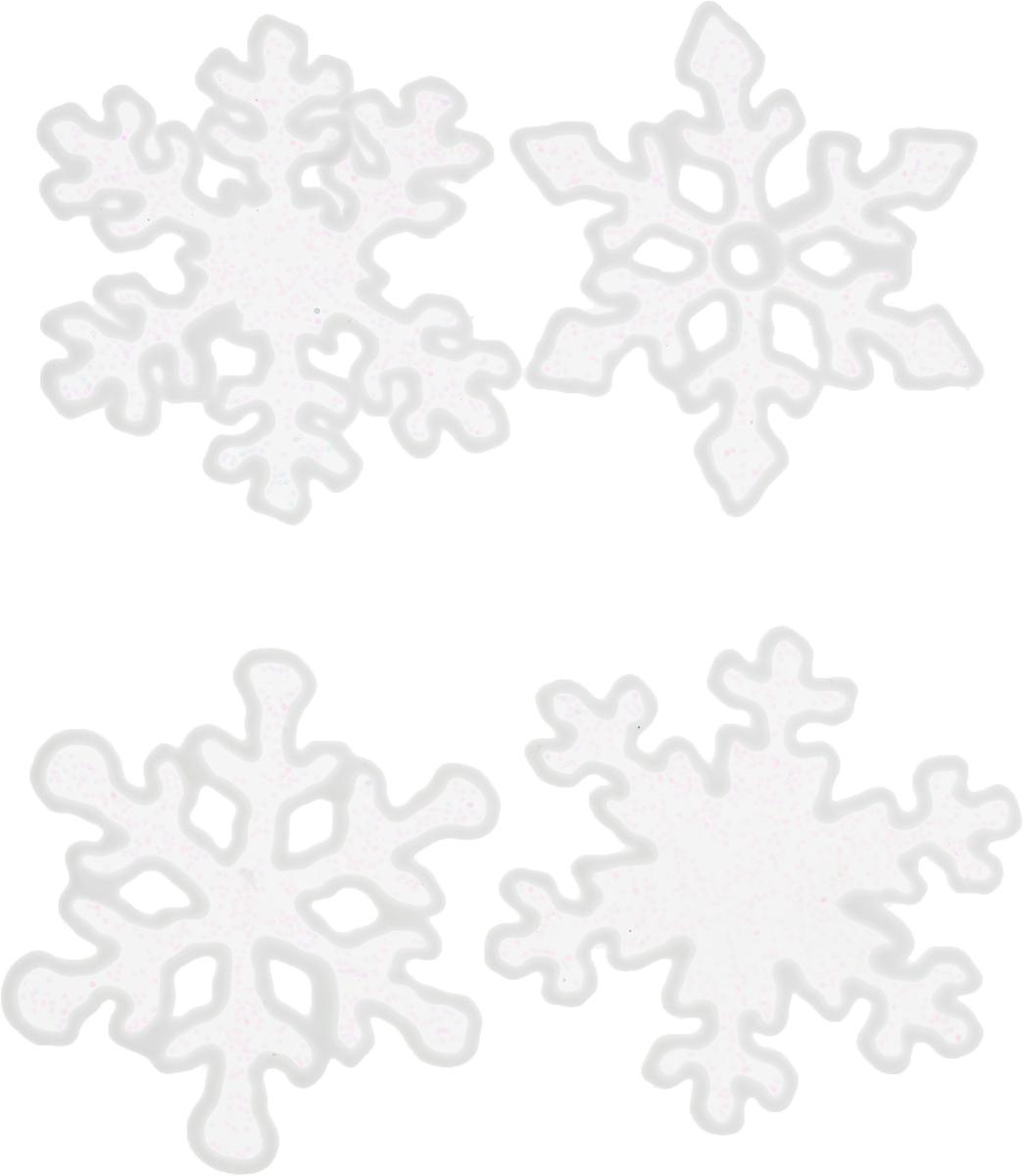 Наклейки на стекло Блестящие снежинки, 4 шт1399731Зимой не только мороз украшает стекла узорами. Сделайте интерьер еще торжественней: преобразите его с помощью специальных наклеек! Декор из силикона не содержит клей и не оставляет следов. Пластичная фигурка сама прилипает к гладкой поверхности, а в конце зимних праздников ее легко снять и отложить до следующего года. Прикрепите на стекло или зеркало одно украшение или создайте целую композицию. Новогодние наклейки приблизят праздничное настроение!