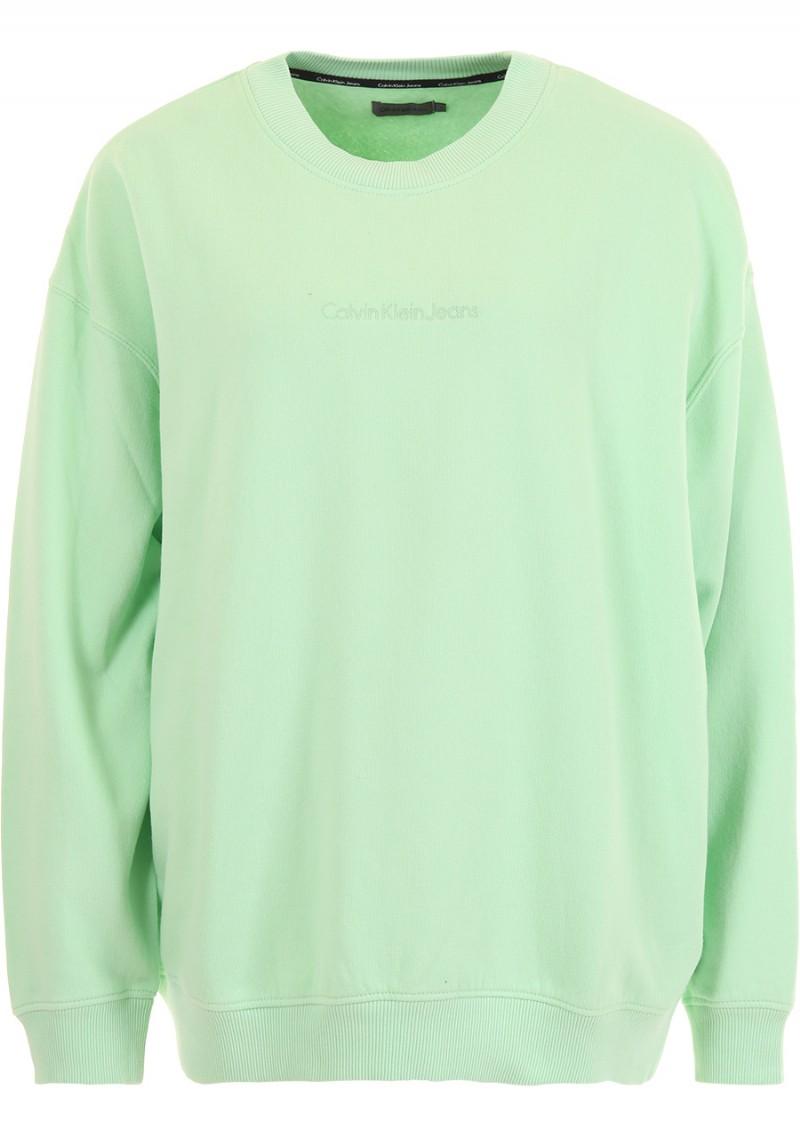 Свитшот женский Calvin Klein Jeans, цвет: зеленый. J20J206415_3470. Размер L (46/48)J20J206415_3470Свитшот круглым вырезом и длинными рукавами изготовлен из качественного смесового материала. Низ изделия и рукава дополнены эластичной резинкой.