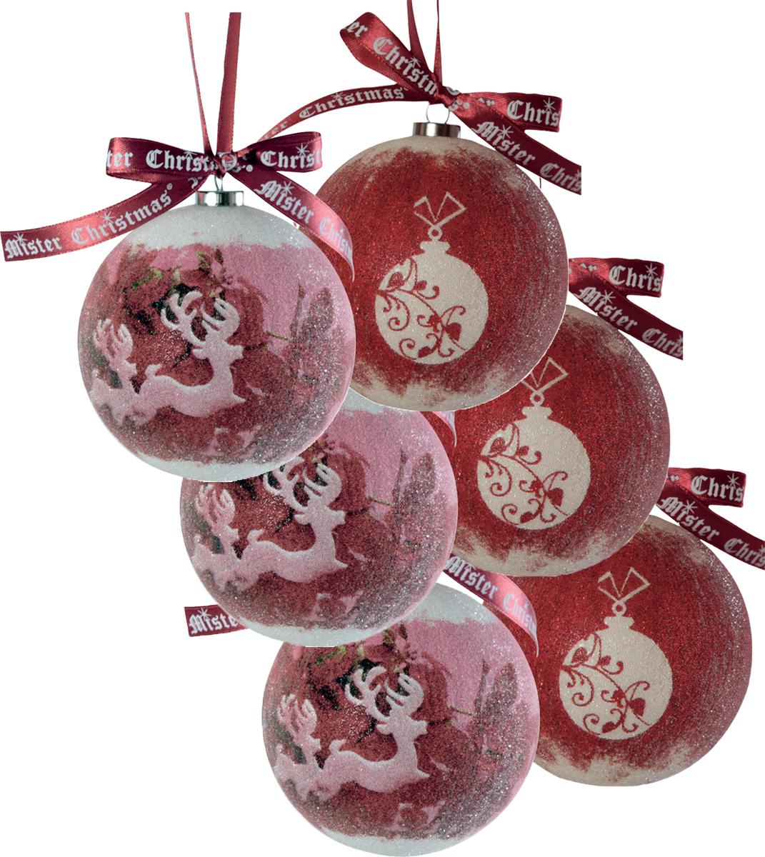 Набор новогодних подвесных украшений Mister Christmas Папье-маше, диаметр 7,5 см, 6 шт. PM-19-6TPM-19-6TНабор из 6 подвесных украшений Mister Christmas Папье-маше прекрасно подойдет для праздничного декора новогодней ели. Изделия, выполненные из бумаги и покрытые несколькими слоями лака, очень прочные и легкие. Такие шары создадут единый стиль в оформлении не только ели, но и интерьера вашего дома. В наборе игрушки имеют глянцевую поверхность и покрытые мелкой пластиковой крошкой. Все изделия оснащены атласной ленточкой с логотипом бренда Mister Christmas для подвешивания. Такие украшения станут превосходным подарком к Новому году, а также дополнят коллекцию оригинальных новогодних елочных игрушек.