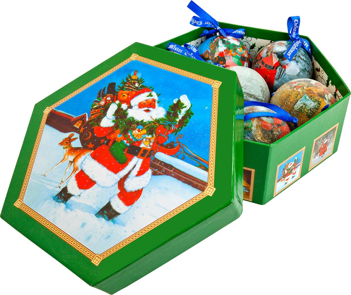 Набор новогодних подвесных украшений Mister Christmas Папье-маше, диаметр 7,5 см, 7 шт. PM-15-7PM-15-7Набор из 7 подвесных украшений Mister Christmas Папье-маше прекрасно подойдет для праздничного декора новогодней ели. Изделия, выполненные из бумаги и покрытые несколькими слоями лака, очень прочные и легкие. Такие шары создадут единый стиль в оформлении не только ели, но и интерьера вашего дома. В наборе игрушки имеют глянцевую поверхность и покрытые мелкой пластиковой крошкой. Все изделия оснащены атласной ленточкой с логотипом бренда Mister Christmas для подвешивания. Такие украшения станут превосходным подарком к Новому году, а также дополнят коллекцию оригинальных новогодних елочных игрушек.