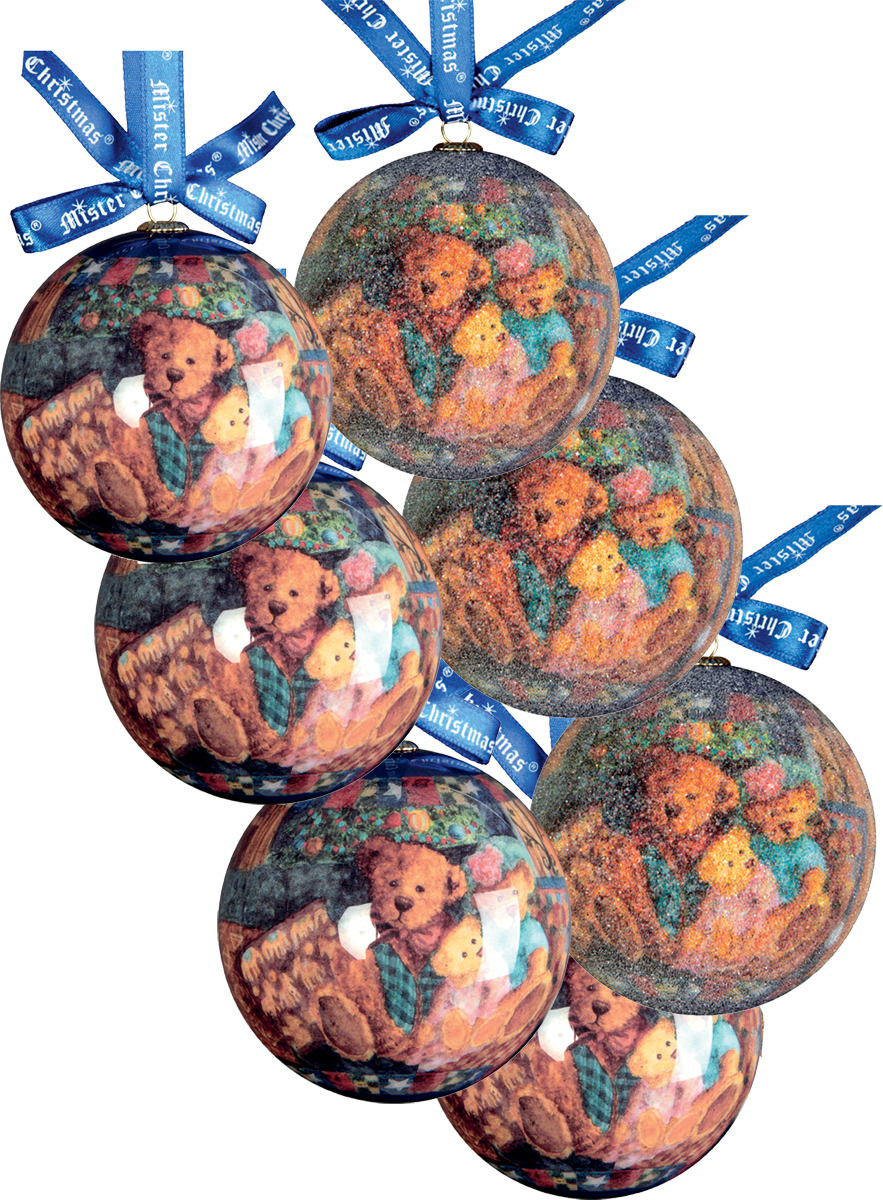Набор новогодних подвесных украшений Mister Christmas  Папье-маше , диаметр 7,5 см, 7 шт. PM-4-7 -  Украшения