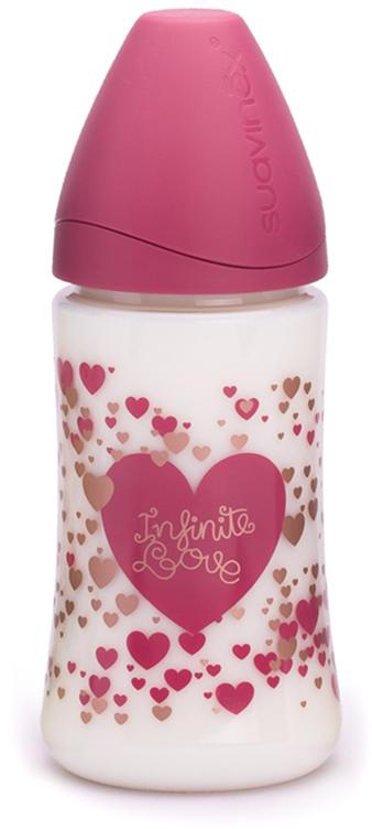 """Бутылка Suavinex 270мл """"Haute Couture"""" с силиконовой круглой соской, розовый, принт сердце"""