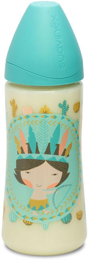 Suavinex Бутылочка от 4 месяцев с силиконовой соской цвет бирюзовый 360 мл mepsi бутылочка для кормления с силиконовой соской от 0 месяцев цвет бирюзовый 125 мл