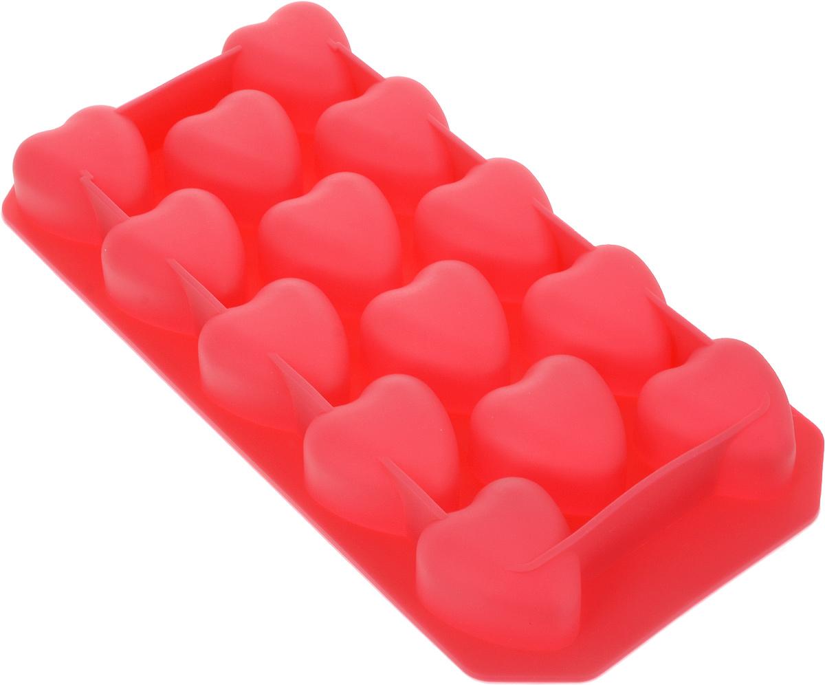 Форма для льда и шоколада Доляна Сердца, цвет: красный, 14 ячеек, 19 х 10 х 1,5 см1427063_красныйФигурная форма для льда и шоколада Доляна Сердца выполнена из пищевого силикона, который не впитывает запахов, отличается прочностью и долговечностью. Материал полностью безопасен для продуктов питания. Кроме того, силикон выдерживает температуру от -40°С до +250°С, что позволяет использовать форму в духовом шкафу и морозильной камере. Благодаря гибкости материала готовый продукт легко вынимается и не крошится.С помощью такой формы можно приготовить оригинальные конфеты и фигурный лед. Приготовить миниатюрные украшения гораздо проще, чем кажется. Наполните силиконовую емкость расплавленным шоколадом, мастикой или водой и поместите в морозильную камеру. Вскоре у вас будут оригинальные фигурки, которые сделают запоминающимся любой праздничный стол! В формах можно заморозить сок или приготовить мини-порции мороженого, желе, шоколада или другого десерта. Особенно эффектно выглядят льдинки с замороженными внутри ягодами или дольками фруктов. Заморозив настой из трав, можно использовать его в косметологических целях.Форма легко отмывается, в том числе в посудомоечной машине.