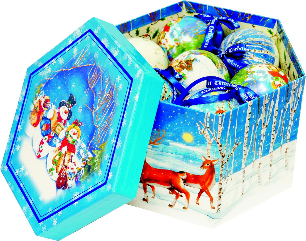 Набор новогодних подвесных украшений Mister Christmas  Папье-маше , диаметр 7,5 см, 14 шт. PM-2-14 -  Украшения