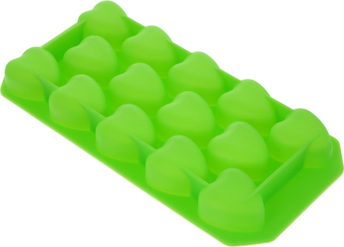 Форма для льда и шоколада Доляна Сердца, цвет: зеленый, 14 ячеек, 19 х 10 х 1,5 см1427063_зеленыйФигурная форма для льда и шоколада Доляна Сердца выполнена из пищевого силикона, который не впитывает запахов, отличается прочностью и долговечностью. Материал полностью безопасен для продуктов питания. Кроме того, силикон выдерживает температуру от -40°С до +250°С, что позволяет использовать форму в духовом шкафу и морозильной камере. Благодаря гибкости материала готовый продукт легко вынимается и не крошится.С помощью такой формы можно приготовить оригинальные конфеты и фигурный лед. Приготовить миниатюрные украшения гораздо проще, чем кажется. Наполните силиконовую емкость расплавленным шоколадом, мастикой или водой и поместите в морозильную камеру. Вскоре у вас будут оригинальные фигурки, которые сделают запоминающимся любой праздничный стол! В формах можно заморозить сок или приготовить мини-порции мороженого, желе, шоколада или другого десерта. Особенно эффектно выглядят льдинки с замороженными внутри ягодами или дольками фруктов. Заморозив настой из трав, можно использовать его в косметологических целях.Форма легко отмывается, в том числе в посудомоечной машине.