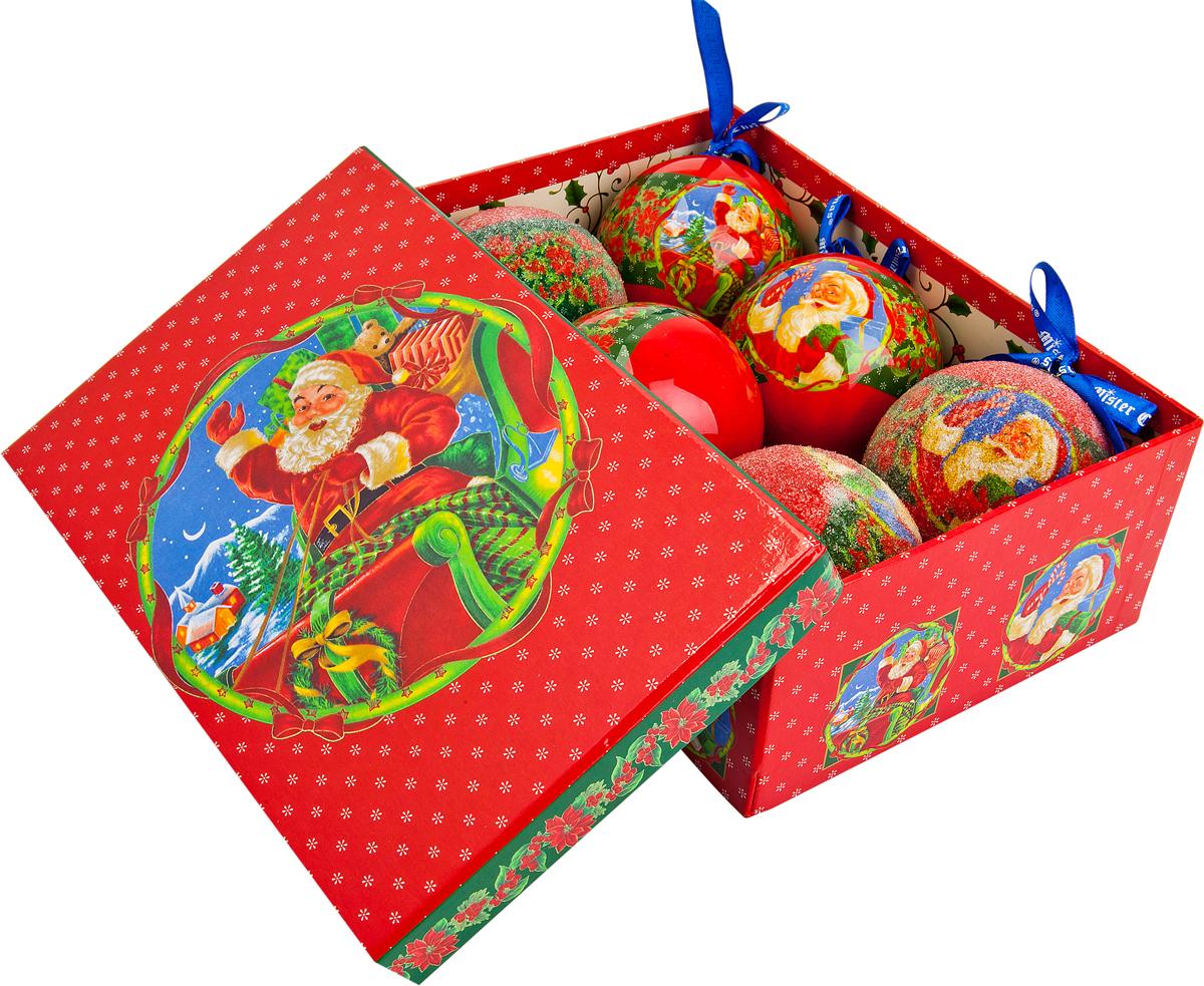 Набор новогодних подвесных украшений Mister Christmas  Папье-маше , диаметр 7,5 см, 6 шт. PM-8-6 -  Украшения