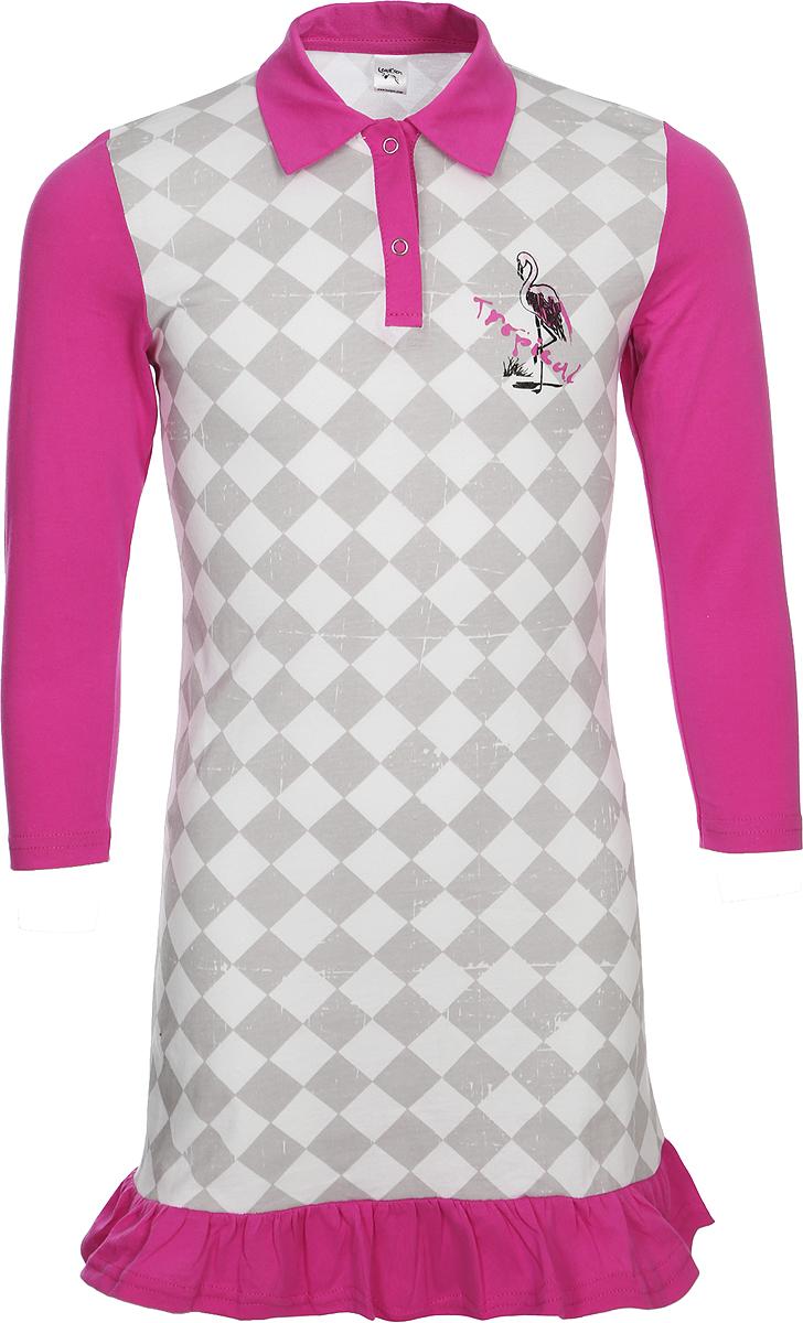 Платье для девочки LeadGen, цвет: серый. G519015614-171. Размер 140G519015614-171Стильное платье для девочки, выполненное из эластичного хлопка, отлично дополнит гардероб вашего ребенка. Модель с длинными рукавами и отложным воротником спереди имеет небольшую застежку на кнопки.