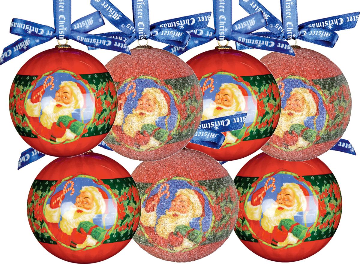 Набор новогодних подвесных украшений Mister Christmas Папье-маше, диаметр 7,5 см, 7 шт. PM-8-7PM-8-7Набор из 7 подвесных украшений Mister Christmas Папье-маше прекрасно подойдет для праздничного декора новогодней ели. Изделия, выполненные из бумаги и покрытые несколькими слоями лака, очень прочные и легкие. Такие шары создадут единый стиль в оформлении не только ели, но и интерьера вашего дома. В наборе игрушки имеют глянцевую поверхность и покрытые мелкой пластиковой крошкой. Все изделия оснащены атласной ленточкой с логотипом бренда Mister Christmas для подвешивания. Такие украшения станут превосходным подарком к Новому году, а также дополнят коллекцию оригинальных новогодних елочных игрушек.