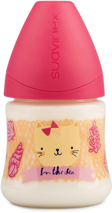 Бутылка Suavinex 150мл от 0 до 6 мес. с анатом. латексной соской, роз.море (розовый)