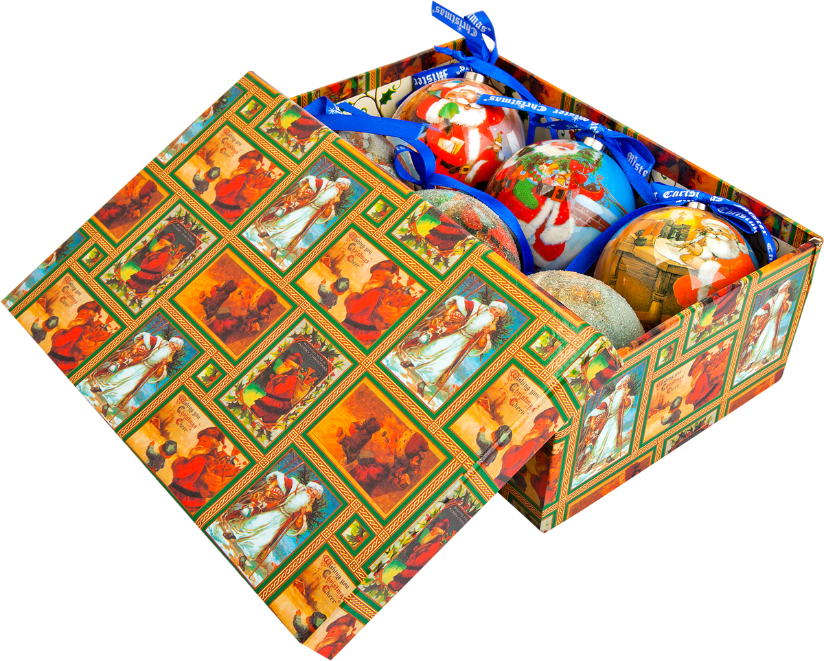 Набор новогодних подвесных украшений Mister Christmas  Папье-маше , диаметр 7,5 см, 6 шт. PM-17-6 -  Украшения