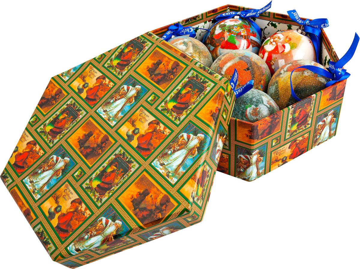 Набор новогодних подвесных украшений Mister Christmas Папье-маше, диаметр 7,5 см, 7 шт. PM-17-7PM-17-7Набор из 7 подвесных украшений Mister Christmas Папье-маше прекрасно подойдет для праздничного декора новогодней ели. Изделия, выполненные из бумаги и покрытые несколькими слоями лака, очень прочные и легкие. Такие шары создадут единый стиль в оформлении не только ели, но и интерьера вашего дома. В наборе игрушки имеют глянцевую поверхность и покрытые мелкой пластиковой крошкой. Все изделия оснащены атласной ленточкой с логотипом бренда Mister Christmas для подвешивания. Такие украшения станут превосходным подарком к Новому году, а также дополнят коллекцию оригинальных новогодних елочных игрушек.