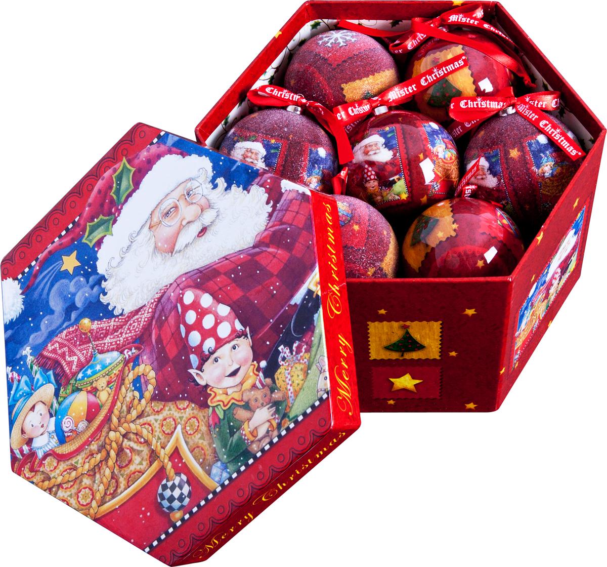 Набор новогодних подвесных украшений Mister Christmas Папье-маше, диаметр 7,5 см, 14 шт. PM-29-14 набор новогодних подвесных украшений mister christmas папье маше диаметр 7 5 см 14 шт pm 13 14