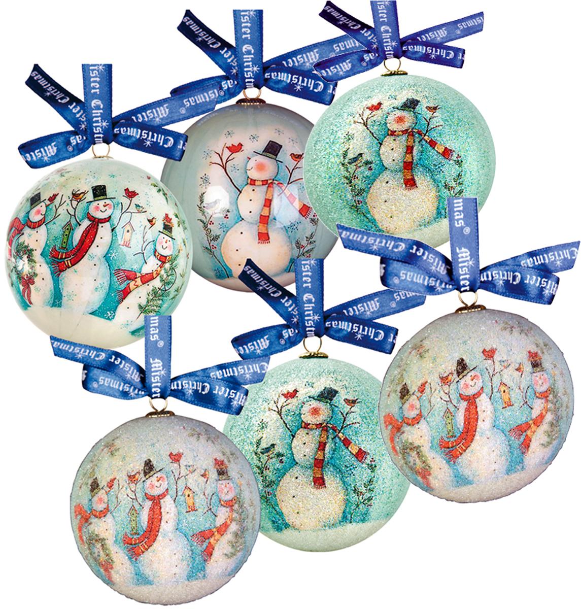 Набор новогодних подвесных украшений Mister Christmas Папье-маше, диаметр 7,5 см, 6 шт. PM-1-6PM-1-6Набор из 6 подвесных украшений Mister Christmas Папье-маше прекрасно подойдет для праздничного декора новогодней ели. Изделия, выполненные из бумаги и покрытые несколькими слоями лака, очень прочные и легкие. Такие шары создадут единый стиль в оформлении не только ели, но и интерьера вашего дома. В наборе игрушки имеют глянцевую поверхность и покрытые мелкой пластиковой крошкой. Все изделия оснащены атласной ленточкой с логотипом бренда Mister Christmas для подвешивания. Такие украшения станут превосходным подарком к Новому году, а также дополнят коллекцию оригинальных новогодних елочных игрушек.