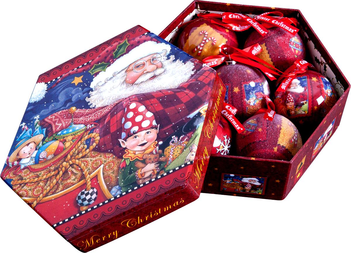 """Набор из 7 подвесных украшений Mister Christmas """"Папье-маше"""" прекрасно подойдет для праздничного декора новогодней ели. Изделия, выполненные из бумаги и покрытые несколькими слоями лака, очень прочные и легкие. Такие шары создадут единый стиль в оформлении не только ели, но и интерьера вашего дома. В наборе игрушки имеют глянцевую поверхность и покрытые мелкой пластиковой крошкой. Все изделия оснащены атласной ленточкой с логотипом бренда Mister Christmas для подвешивания. Такие украшения станут превосходным подарком к Новому году, а также дополнят коллекцию оригинальных новогодних елочных игрушек."""
