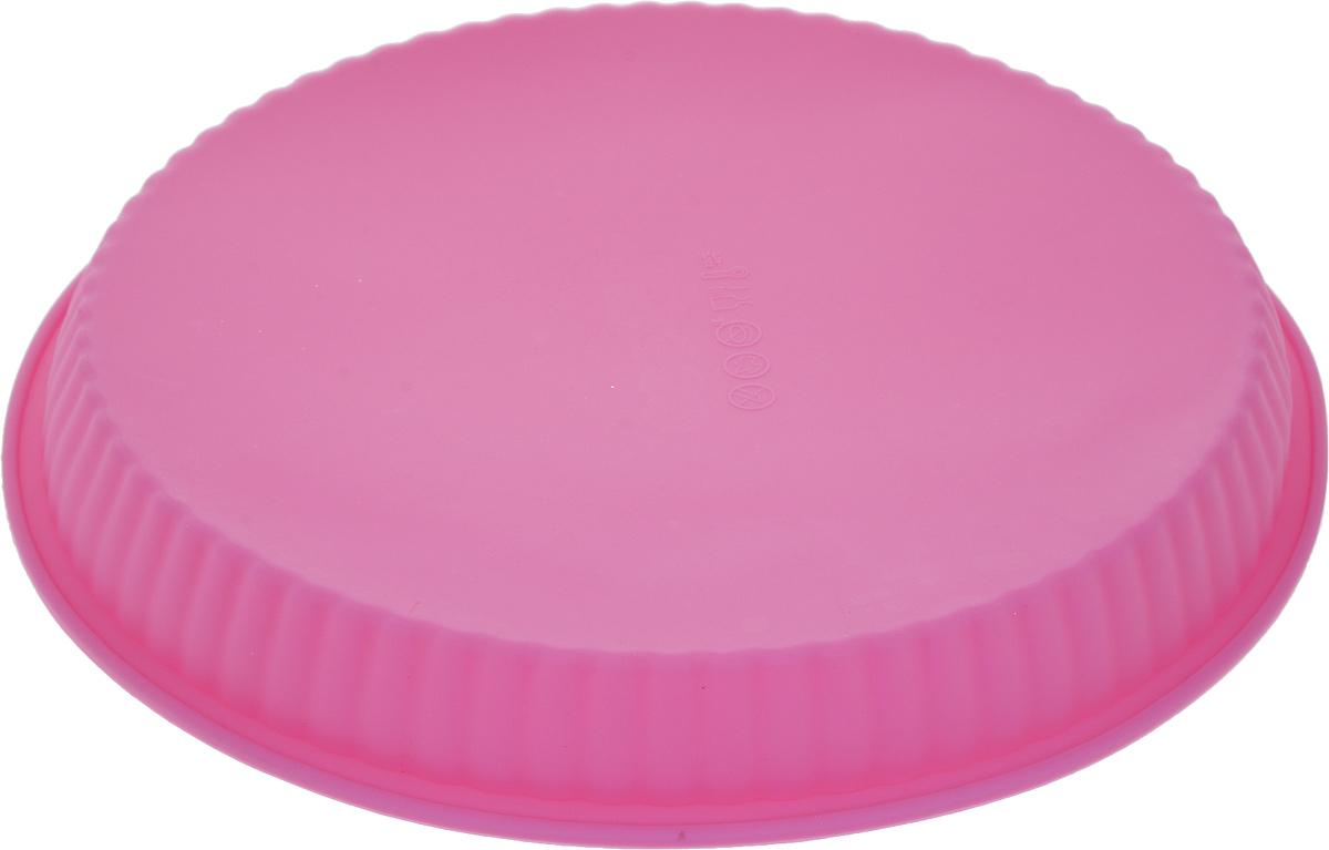 Форма для выпечки Доляна Круг ребристый, цвет: розовый, 25 х 4 см1063404_розовый
