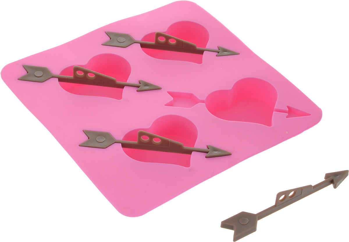 Форма для выпечки Доляна Стрелы Амура, цвет: розовый, 17 х 2,5 см, 4 ячейки1005227_розовыйФорма для выпечки из силикона — современное решение для практичных и радушных хозяек. Оригинальный предмет позволяет готовить в духовке любимые блюда из мяса, рыбы, птицы и овощей, а также вкуснейшую выпечку.Почему это изделие должно быть на кухне?- блюдо сохраняет нужную форму и легко отделяется от стенок после приготовления;- высокая термостойкость (от –40 до 230 °С) позволяет применять форму в духовых шкафах и морозильных камерах;- небольшая масса делает эксплуатацию предмета простой даже для хрупкой женщины;- силикон пригоден для посудомоечных машин;- высокопрочный материал делает форму долговечным инструментом;- при хранении предмет занимает мало места.Советы по использованию формыПеред первым применением промойте предмет тёплой водой.В процессе приготовления используйте кухонный инструмент из дерева, пластика или силикона.Перед извлечением блюда из силиконовой формы дайте ему немного остыть, осторожно отогните края предмета.Готовьте с удовольствием!