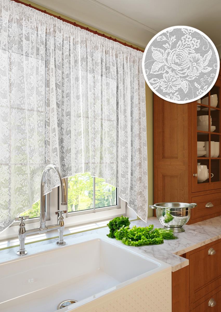 Тюль для кухни KauffOrt Монро, на ленте, ширина 260 см, высота 175 см3111233270Тюль для кухни Kauffort Монро с фестоном выполнена из качественного 100%полиэстера. Изысканный вид кружева привлечет к себе внимание и органично впишется винтерьер помещения. Изделие имеет шов по середине, состоит из двух частей. Штора Монроотшивается на шторной ленте, которая поможет красиво и равномернозадрапировать верх. Уважаемые клиенты! Оттенок изделия может отличаться от представленного на сайте в силуособенностей цветопередачи фототехники и вашего монитора. Высота самой короткой части (центральной) тюля: 118 см.