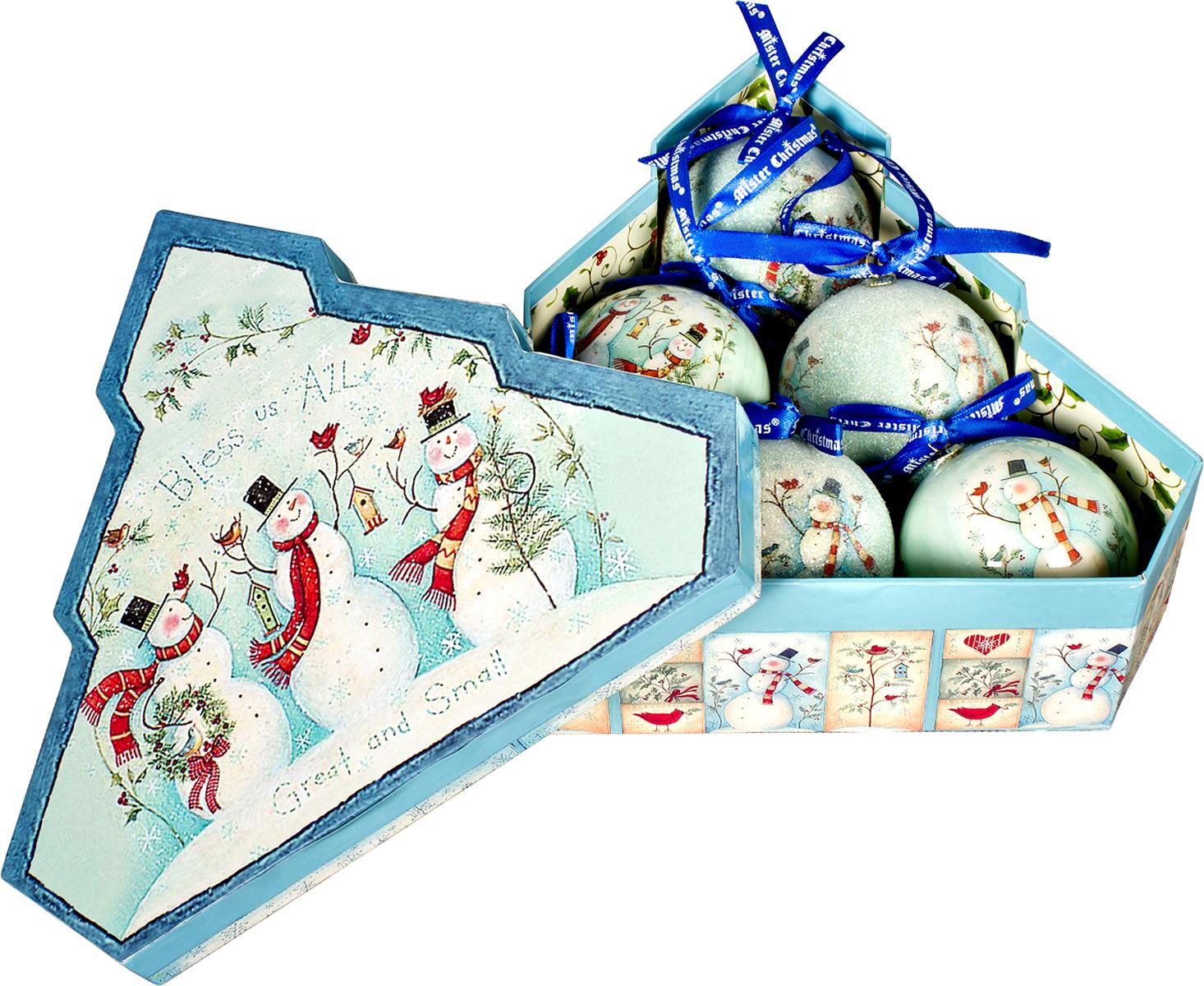 Набор новогодних подвесных украшений Mister Christmas  Папье-маше , диаметр 7,5 см, 6 шт. PM-1-6T -  Украшения