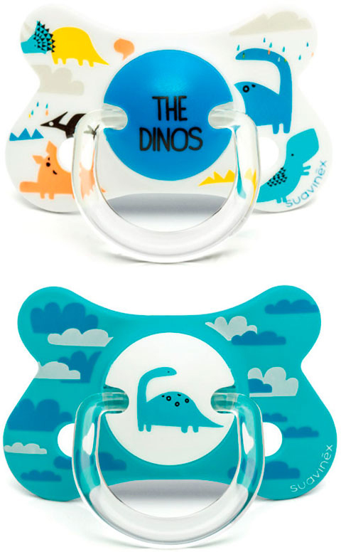Пустышка Suavinex от 18мес. с физиологической латексной соской, 2шт., голубой динозавр авент пустышка силик ночная 6 18мес n2