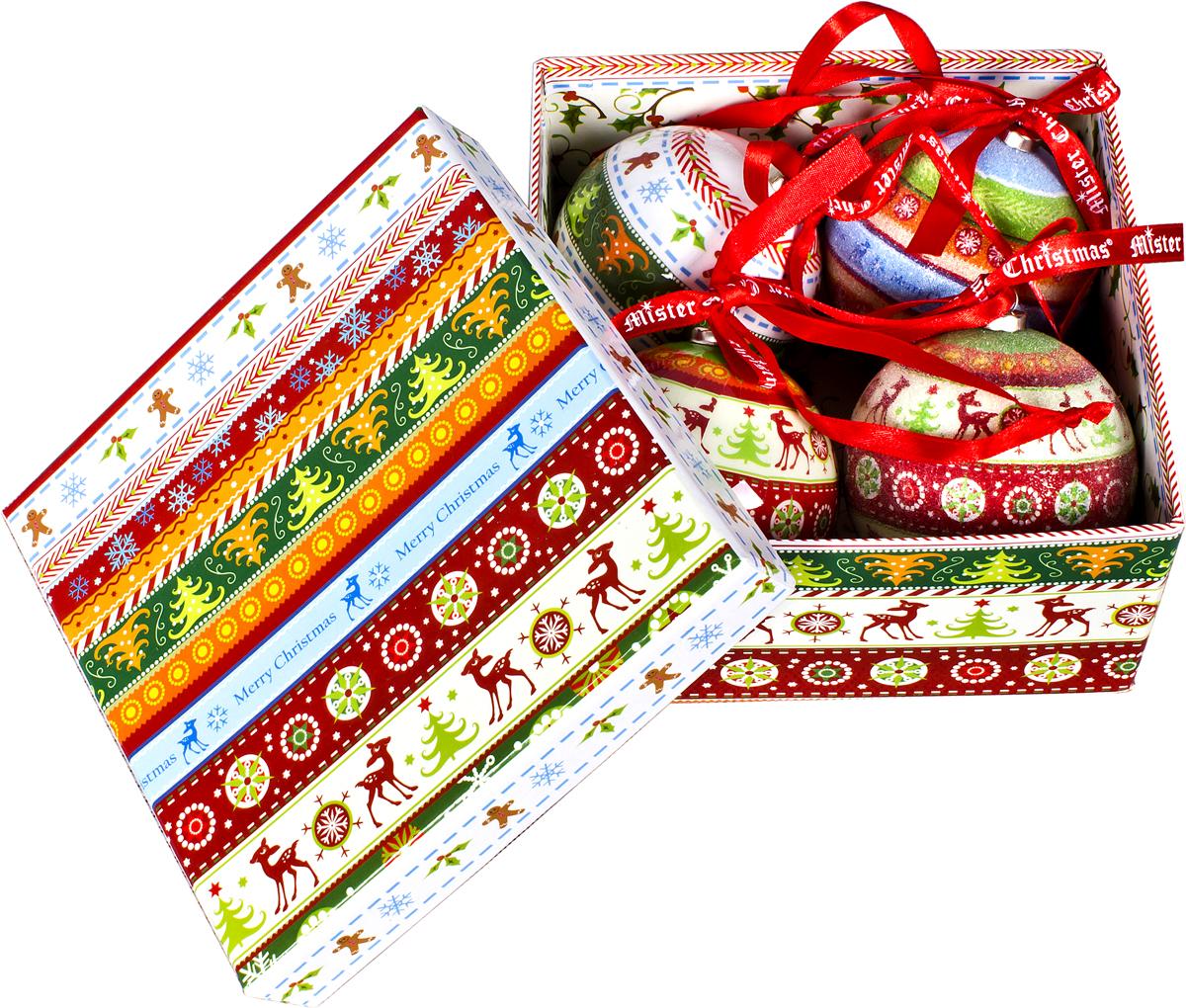 Набор новогодних подвесных украшений Mister Christmas Папье-маше, диаметр 7,5 см, 4 шт. PM-42-4PM-42-4Набор из 4 подвесных украшений Mister ChristmasПапье-маше прекрасно подойдет для праздничногодекора новогодней ели. Изделия, выполненные избумаги и покрытые несколькими слоями лака, оченьпрочные и легкие. Такие шары создадут единый стиль воформлении не только ели, но и интерьера вашего дома.В наборе игрушки имеют глянцевую поверхность ипокрытые мелкой пластиковой крошкой.Все изделия оснащены атласной ленточкой с логотипомбренда Mister Christmas для подвешивания.Такие украшения станут превосходным подарком кНовому году, а также дополнят коллекцию оригинальныхновогодних елочных игрушек.