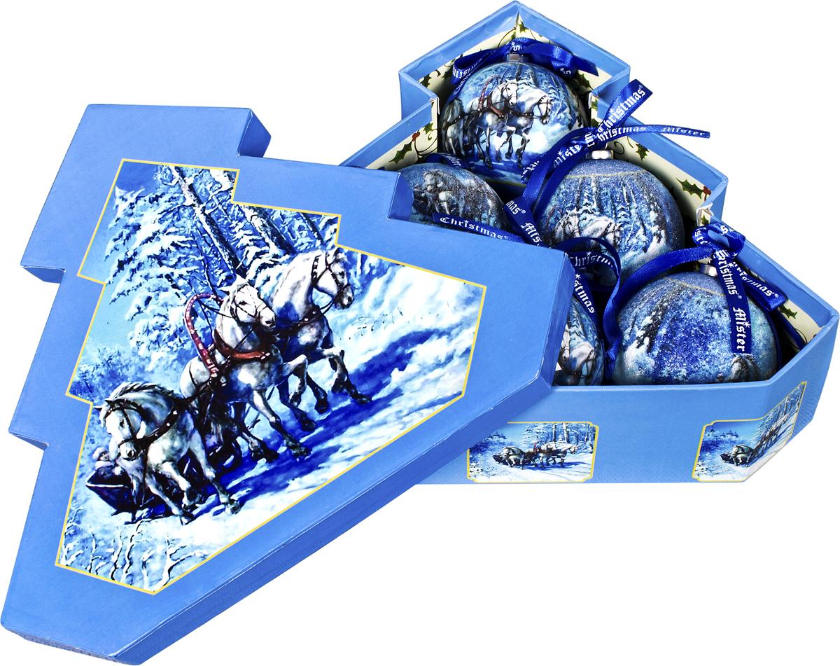 Набор новогодних подвесных украшений Mister Christmas  Папье-маше , диаметр 7,5 см, 6 шт. PM-44-6T -  Украшения