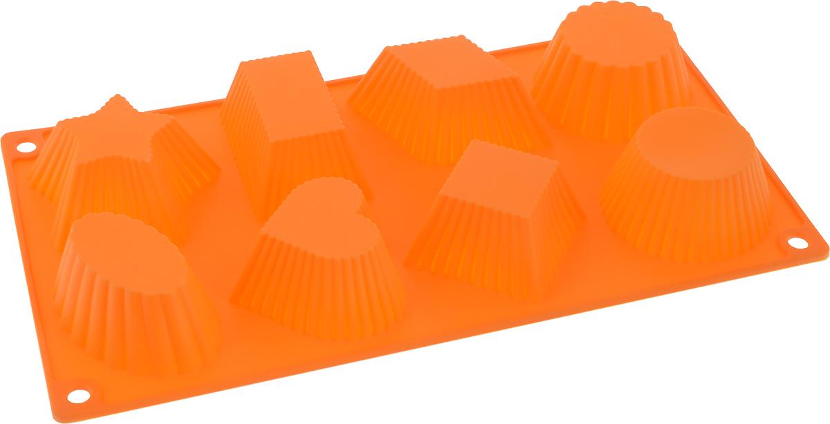 Форма для выпечки Доляна Ребристые кексики, цвет: оранжевый, 29,5 х 16 х 4 см, 8 ячеек1057194_оранжевыйФорма для выпечки из силикона — современное решение для практичных и радушных хозяек. Оригинальный предмет позволяет готовить в духовке любимые блюда из мяса, рыбы, птицы и овощей, а также вкуснейшую выпечку. Почему это изделие должно быть на кухне? - блюдо сохраняет нужную форму и легко отделяется от стенок после приготовления; - высокая термостойкость (от –40 до 230 °C) позволяет применять форму в духовых шкафах и морозильных камерах; - небольшая масса делает эксплуатацию предмета простой даже для хрупкой женщины; - силикон пригоден для посудомоечных машин; - высокопрочный материал делает форму долговечным инструментом; - при хранении предмет занимает мало места. Советы по использованию формы Перед первым применением промойте предмет тёплой водой. В процессе приготовления используйте кухонный инструмент из дерева, пластика или силикона. Перед извлечением блюда из силиконовой формы дайте ему немного остыть, осторожно отогните края предмета. Готовьте с удовольствием!
