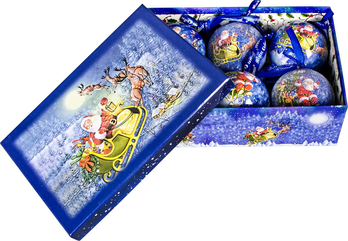 Набор новогодних подвесных украшений Mister Christmas Папье-маше, диаметр 7,5 см, 6 шт. PM-45-6PM-45-6Набор из 6 подвесных украшений Mister Christmas Папье-маше прекрасно подойдет для праздничного декора новогодней ели. Изделия, выполненные из бумаги и покрытые несколькими слоями лака, очень прочные и легкие. Такие шары создадут единый стиль в оформлении не только ели, но и интерьера вашего дома. В наборе игрушки имеют глянцевую поверхность и покрытые мелкой пластиковой крошкой. Все изделия оснащены атласной ленточкой с логотипом бренда Mister Christmas для подвешивания. Такие украшения станут превосходным подарком к Новому году, а также дополнят коллекцию оригинальных новогодних елочных игрушек.
