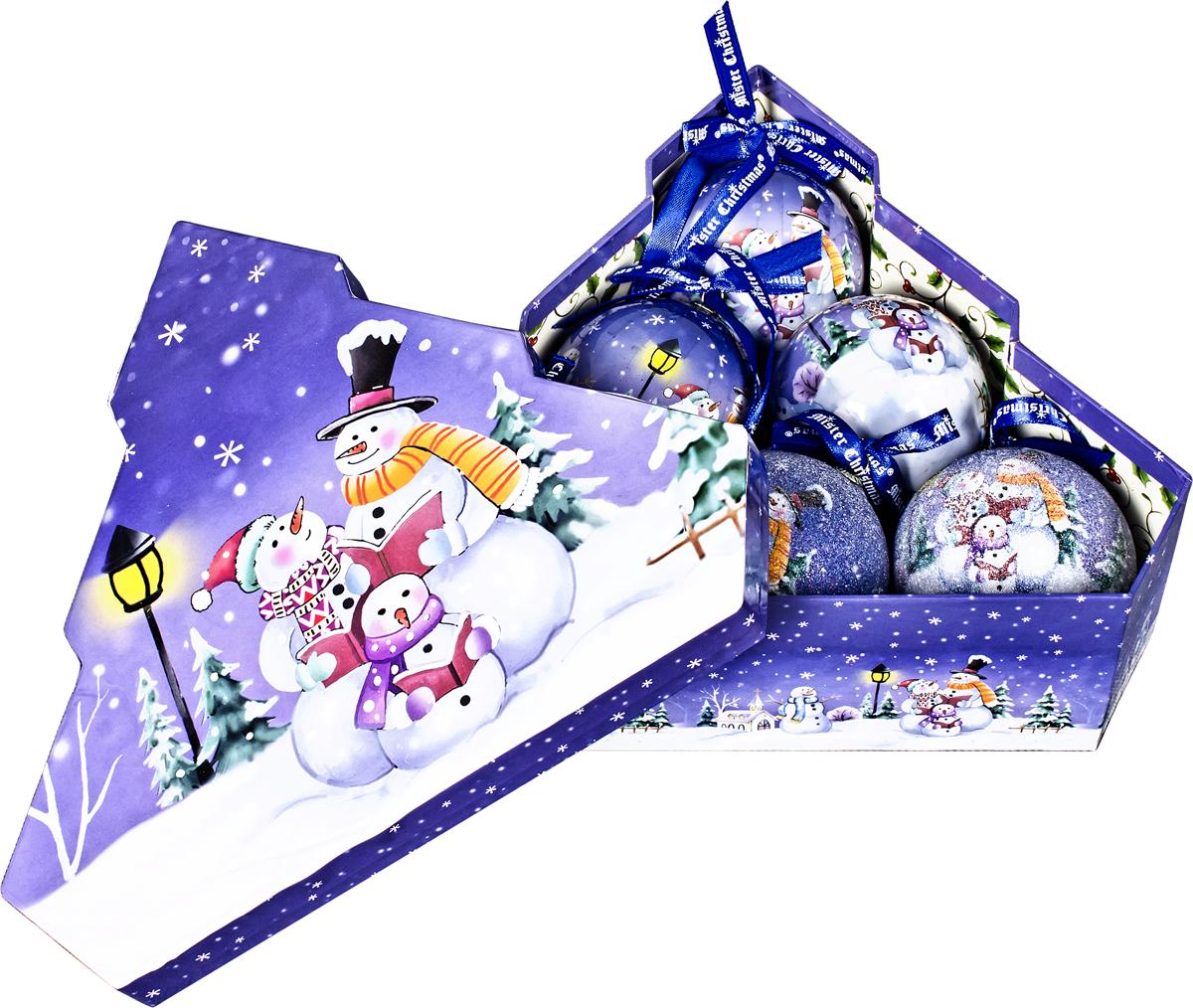 Набор новогодних подвесных украшений Mister Christmas  Папье-маше , диаметр 7,5 см, 6 шт. PM-46-6T -  Украшения
