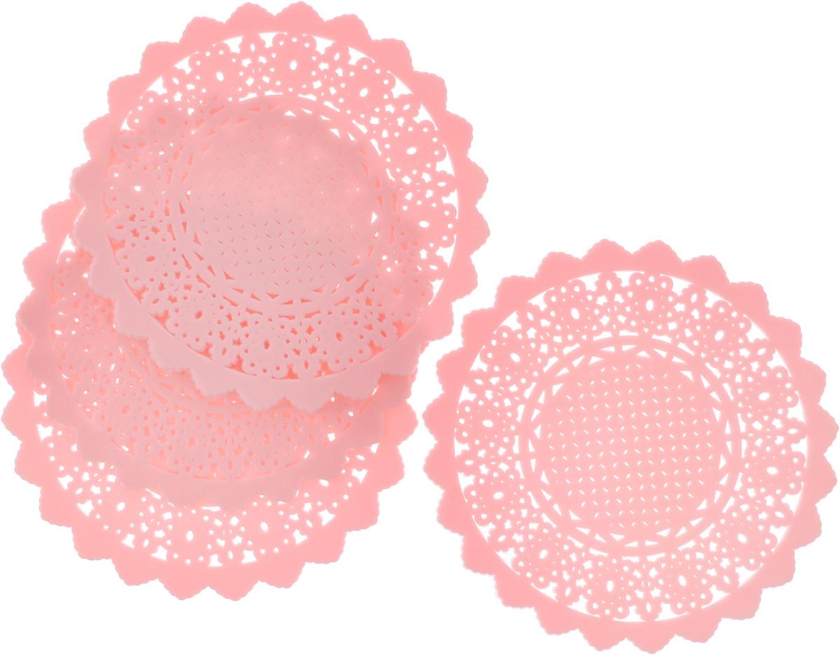 Набор подставок под горячее Доляна Ажур, цвет: розовый, 10 см, 4 шт939019_розовыйСиликоновая подставка под горячее - практичный предмет, который обязательно пригодится в хозяйстве. Изделие поможет сберечь столы, тумбы, скатерти и клеенки от повреждения нагретыми сковородами, кастрюлями, чайниками и тарелками.