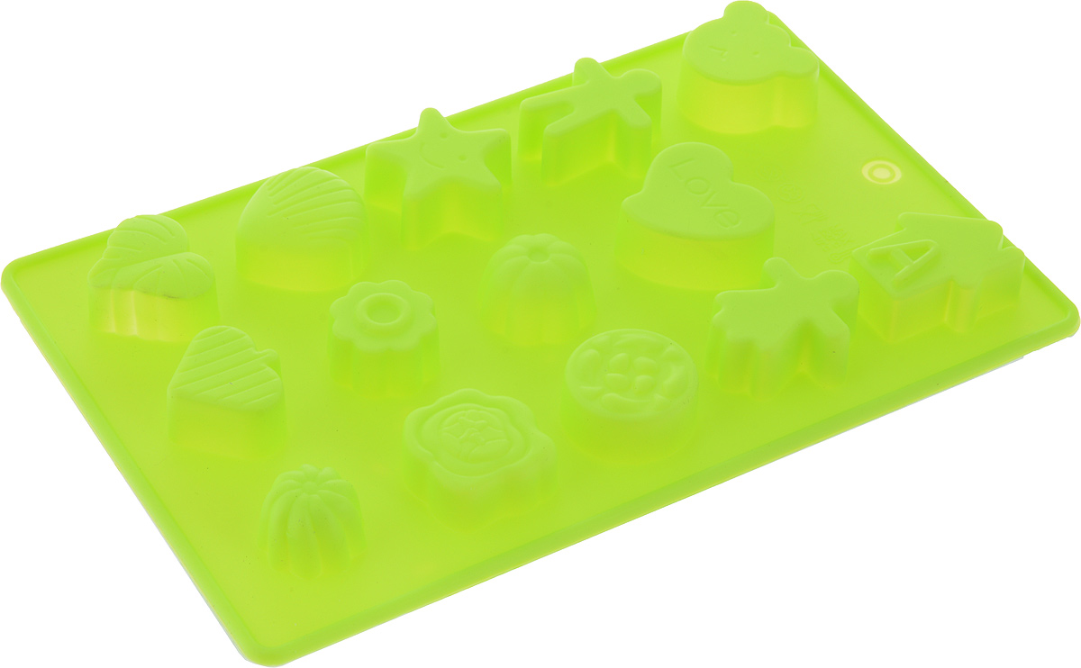 """Фигурная форма для льда и шоколада Доляна """"Ассорти"""" выполнена из пищевого силикона, который не впитывает запахов, отличается прочностью и долговечностью. Материал полностью безопасен для продуктов питания. Кроме того, силикон выдерживает температуру от -40°С до +250°С, что позволяет использовать форму в духовом шкафу и морозильной камере. Благодаря гибкости материала готовый продукт легко вынимается и не крошится.  С помощью такой формы можно приготовить оригинальные конфеты и фигурный лед. Приготовить миниатюрные украшения гораздо проще, чем кажется. Наполните силиконовую емкость расплавленным шоколадом, мастикой или водой и поместите в морозильную камеру. Вскоре у вас будут оригинальные фигурки, которые сделают запоминающимся любой праздничный стол! В формах можно заморозить сок или приготовить мини-порции мороженого, желе, шоколада или другого десерта. Особенно эффектно выглядят льдинки с замороженными внутри ягодами или дольками фруктов. Заморозив настой из трав, можно использовать его в косметологических целях.  Форма легко отмывается, в том числе в посудомоечной машине."""