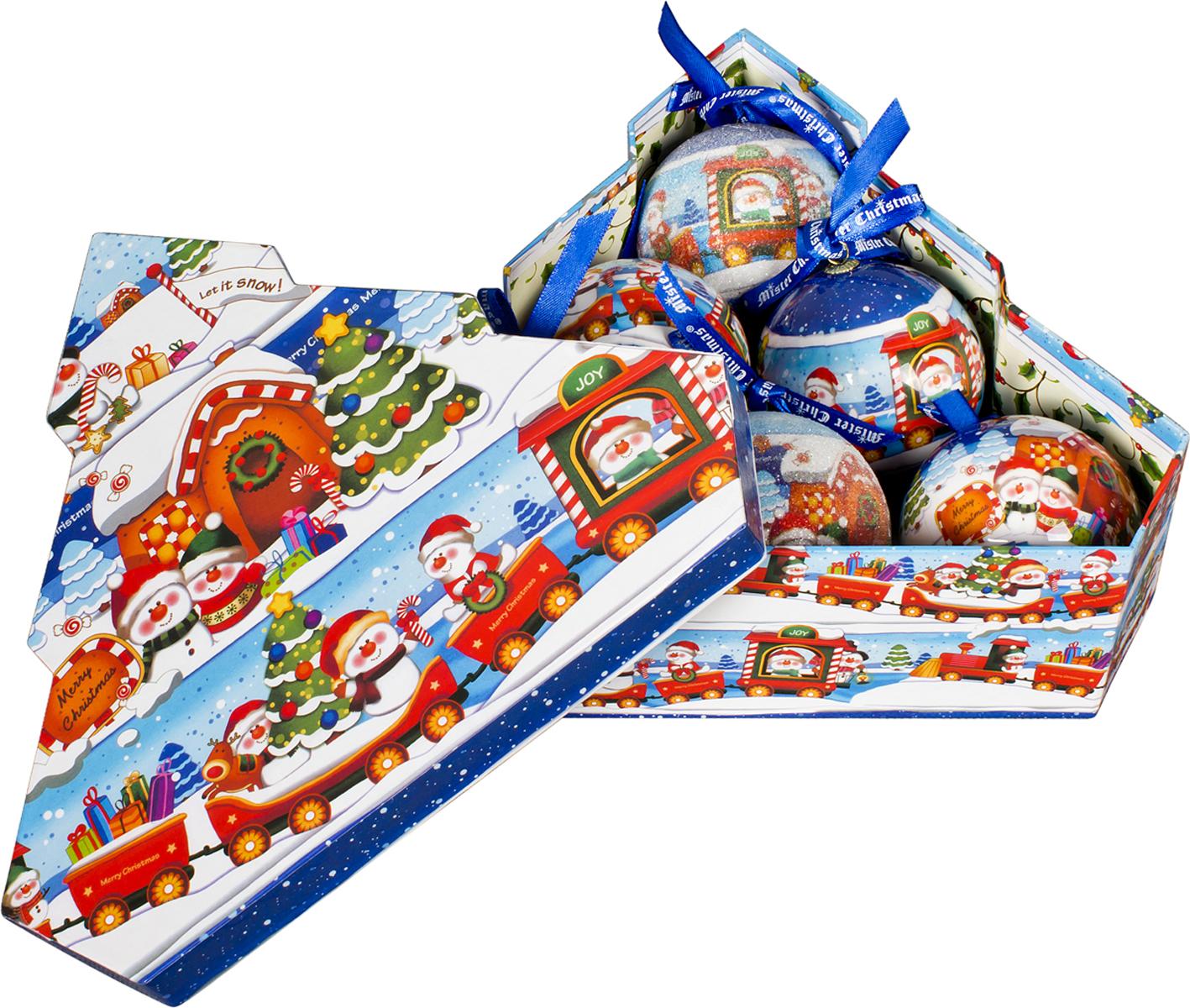 Набор новогодних подвесных украшений Mister Christmas  Папье-маше , диаметр 7,5 см, 6 шт. PM-48-6T -  Украшения